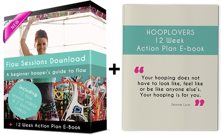 HOOPLOVERS Flow Session Package Hulahoop Videos plus hulahoop action place e-book