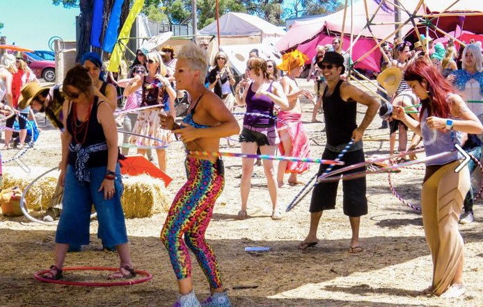 Deanne Love Teaching Hula Hoop at a festival